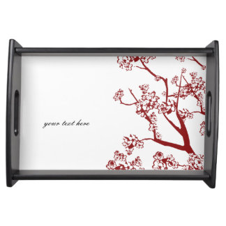 Red Cherry Blossom Oriental Serving Tray