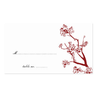 Red Cherry Blossom Wedding Table Place Cards Business Cards