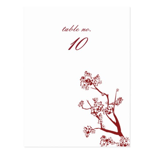 Red Cherry Blossom Wedding Table Place Cards Postcards