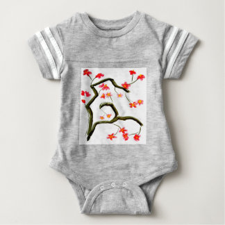 Red Cherry Blossoms accent Baby Bodysuit