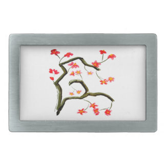 Red Cherry Blossoms accent Belt Buckle