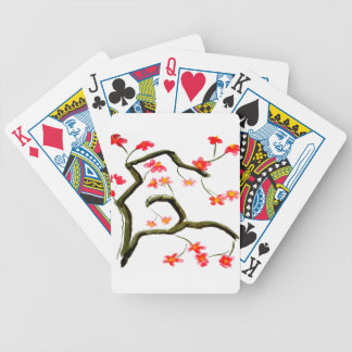 Red Cherry Blossoms accent Bicycle Playing Cards