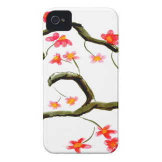 Red Cherry Blossoms accent Case-Mate iPhone 4 Case