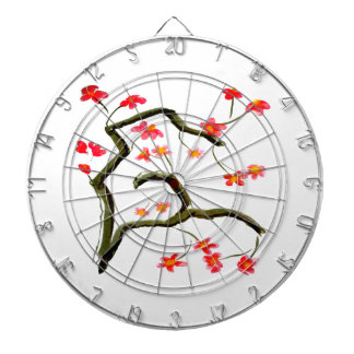 Red Cherry Blossoms accent Dartboard