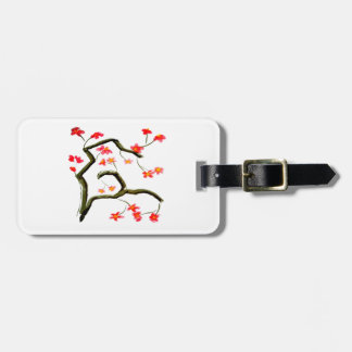 Red Cherry Blossoms accent Luggage Tag