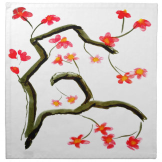 Red Cherry Blossoms accent Napkin