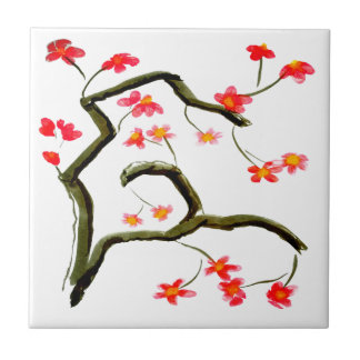 Red Cherry Blossoms accent Tile