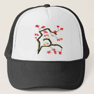 Red Cherry Blossoms accent Trucker Hat