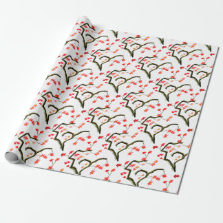 Red Cherry Blossoms accent Wrapping Paper