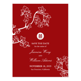 Red Cherry Blossoms Double Happiness Save The Date Postcard