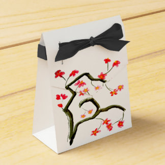 Red Cherry Blossoms on White Favor Box