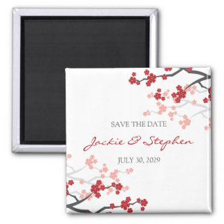 Red Cherry Blossoms Sakura Flowers Save The Date Magnet