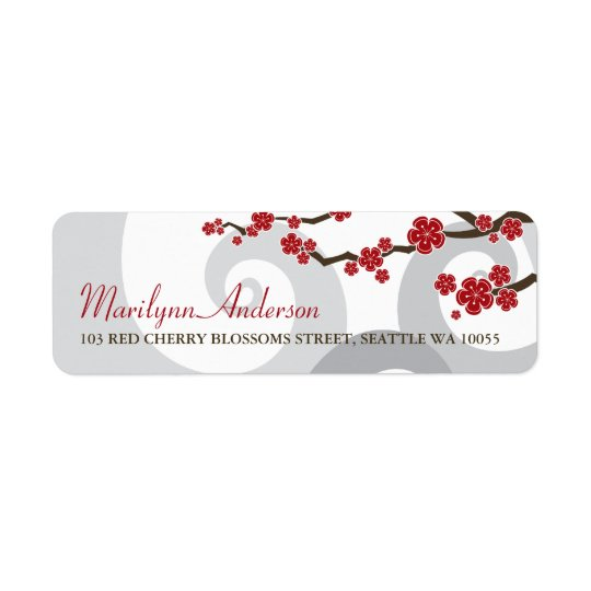 Red Cherry Blossoms Sakura Swirls Address Labels