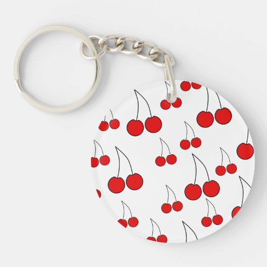 Red Cherry Pattern. Double-Sided Round Acrylic Keychain