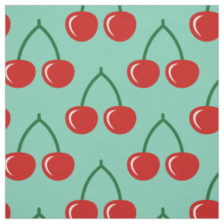 Red cherry print pattern DIY textile fabric