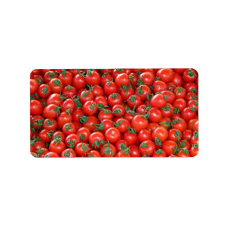 Red Cherry Tomatoes Pattern Label