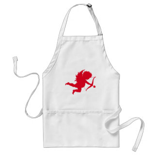 RED CHERUB SILHOUETTE.png Adult Apron