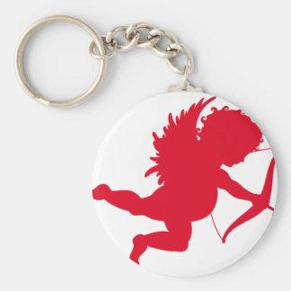 RED CHERUB SILHOUETTE.png Basic Round Button Keychain