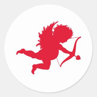 RED CHERUB SILHOUETTE.png Classic Round Sticker