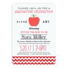 Red Chevron /Apple Teacher Graduation Invitation