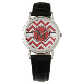 Red Chevron Monogram Watch