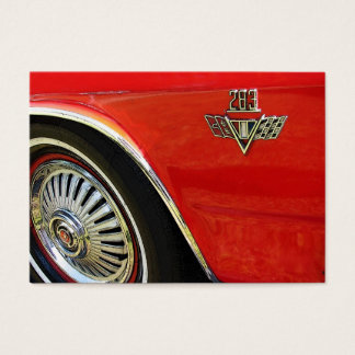 Red Chevy 283 classic old car and tire Business Card