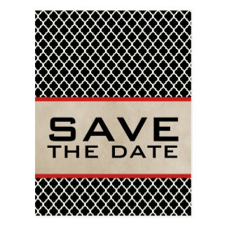 Red Chic Quatrefoil Save the Date Postcard
