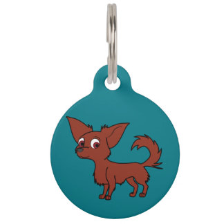 Red Chihuahua with Long Hair Pet ID Tag