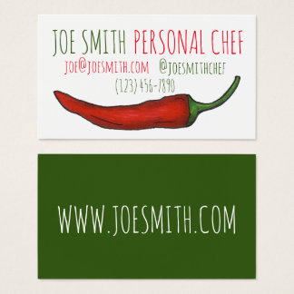 Red Chili Chile Pepper Chef Restaurant Cook Food Business Card