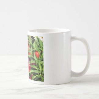 Red chili peppers hanging on the plant coffee mug