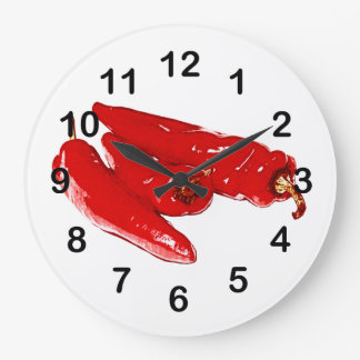 red chili peppers large clock