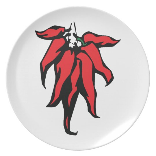 Red Chili Peppers On a String Graphic Plate