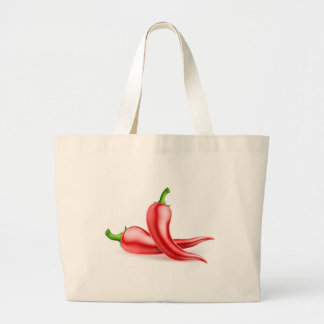 Red Chilli Peppers Illustration Large Tote Bag