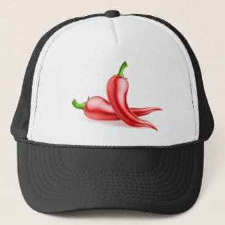 Red Chilli Peppers Illustration Trucker Hat