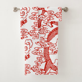Red Chinese Dragon Pattern Bath Towel Set