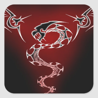 Red Chinese Dragon Square Sticker