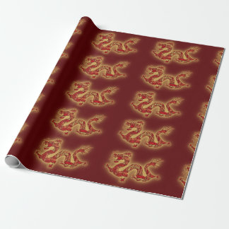 Red Chinese Festival Dragon Wrapping Paper