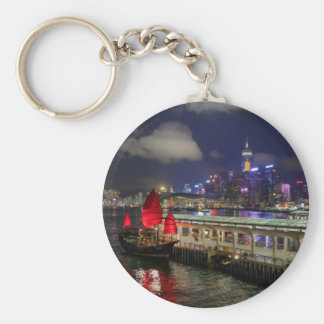 Red Chinese Junk in Hong Kong at Night Keychain