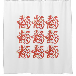Red Chinese Papercut of Dog Shower Curtain