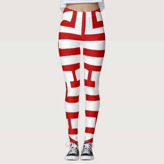 Red Chinese Symbol Leggings