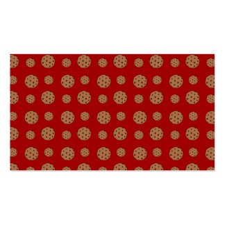 Red chocolate chip cookies pattern business card