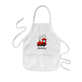 Red choo choo train apron for kids | Personalize