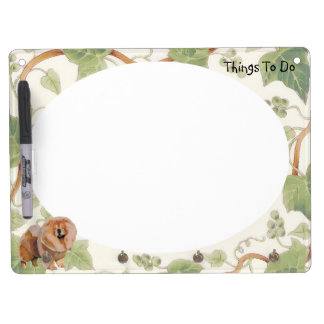 Red Chow Chow with Ivy Dry-Erase Whiteboard