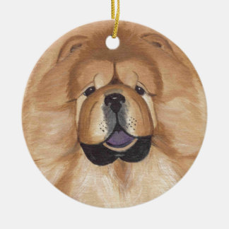 Red chow round Ornament