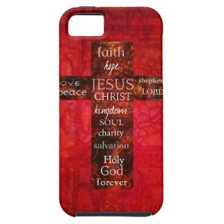 Red Christian Cross Contemporary Religious Art iPhone 5 Covers