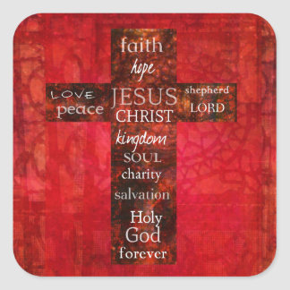 Red Christian Cross Contemporary Religious Art Sticker