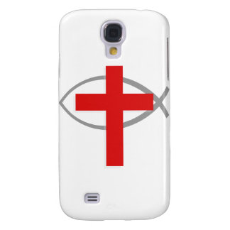 Red Christian Cross With the Jesus Fish Ichthys