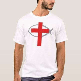 Red Christian Cross With the Jesus Fish Ichthys T-Shirt