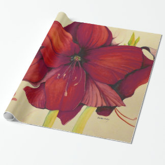 Red Christmas Amaryllis Glossy Wrapping Paper