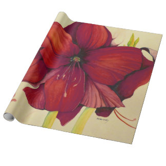 Red Christmas Amaryllis Linen Wrapping Paper
